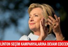 Clinton Seçim Kampanyalarına Devam Edecek